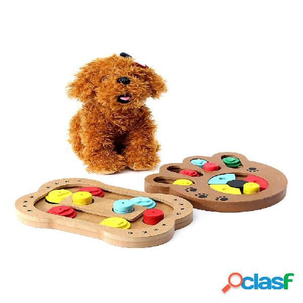 Mascota perro gato juego iq juguete de entrenamiento rompecabezas interactivo de madera para dispensar alimentos placa