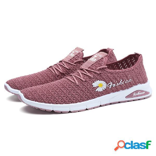 Mujer daisy decor calzado deportivo informal ligero de malla transpirable