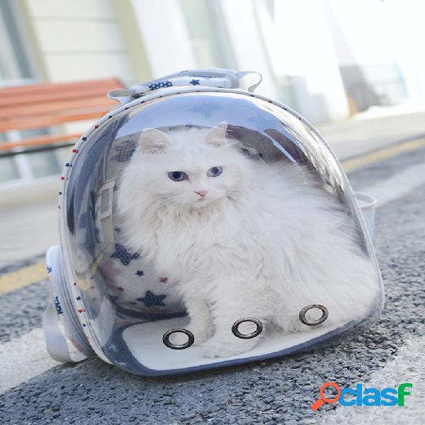 Mochila de viaje transpirable transparente para mascotas perro gato al aire libre carrier bolsa