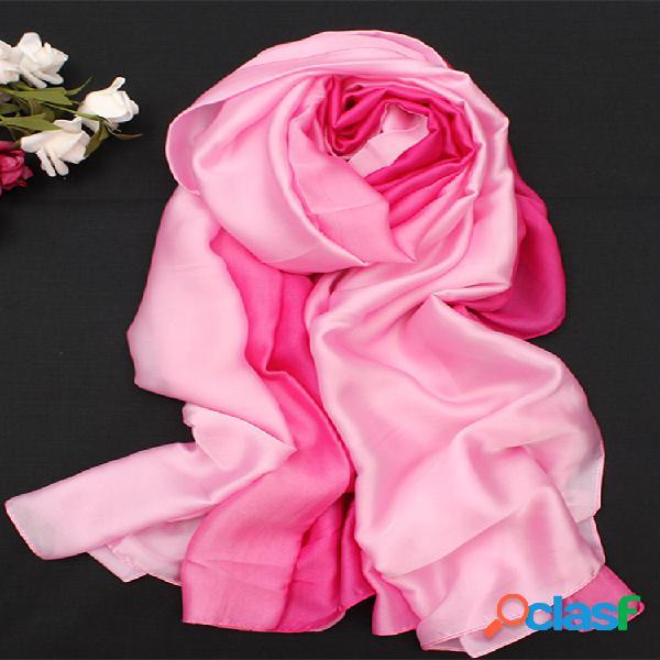 Mujer soft cómoda bufanda de satén de seda con degradado de colores para viajes playa pañuelo para el sol