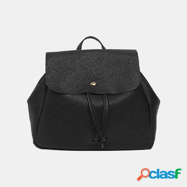 Mujer flip cover drawstring decor pu mini mochila