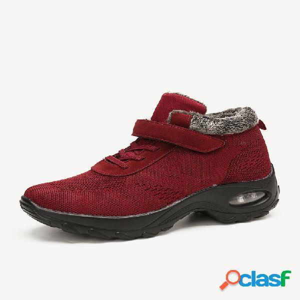 Mujer al aire libre forro cálido de malla gancho zapatos deportivos con plataforma y lazo acolchado