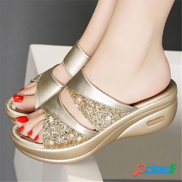 Mujer daily hollow lentejuelas open toe comfy soft sole zapatillas