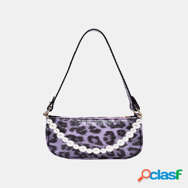 Mujer pu hombro de perlas con estampado de leopardo bolsa axila bolsa