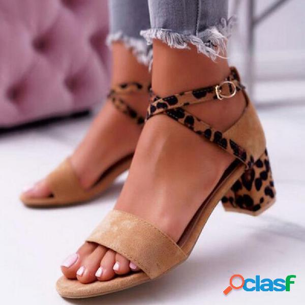Mujer tacones gruesos de leopardo con correa cruzada casual con hebilla sandalias