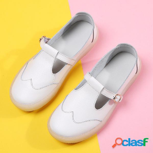 Mujer soft zapatos planos blancos de cuero cómodos de enfermera de suela