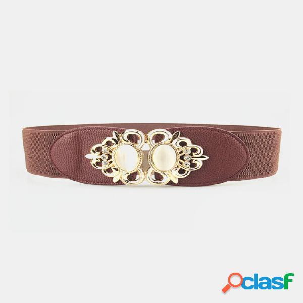 Mujer elastic stretch corsé cintura botón de metal cintura de diamante cinturón