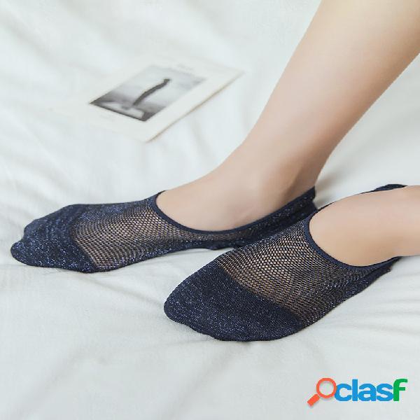 Mujer malla algodón silicona antideslizante invisible barco calcetines transpirable buena elastic stealth calcetines