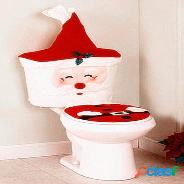 Año nuevo navidad santa asiento de inodoro alfombra cuarto de baño conjunto decoraciones navideñas para el hogar