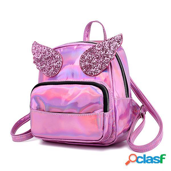 Mujer láser hombro bolsa mochila con alas de lentejuelas cute reflective bolsa