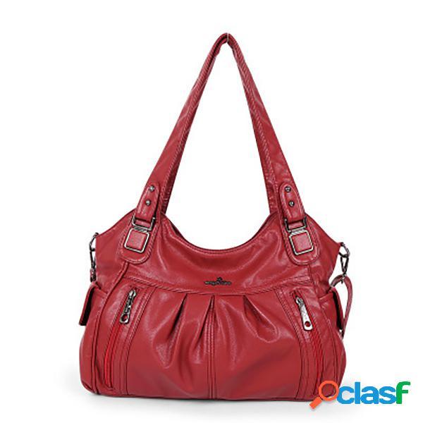 Mujer hombro informal bolsa crossbody multibolsillos sólidos bolsa
