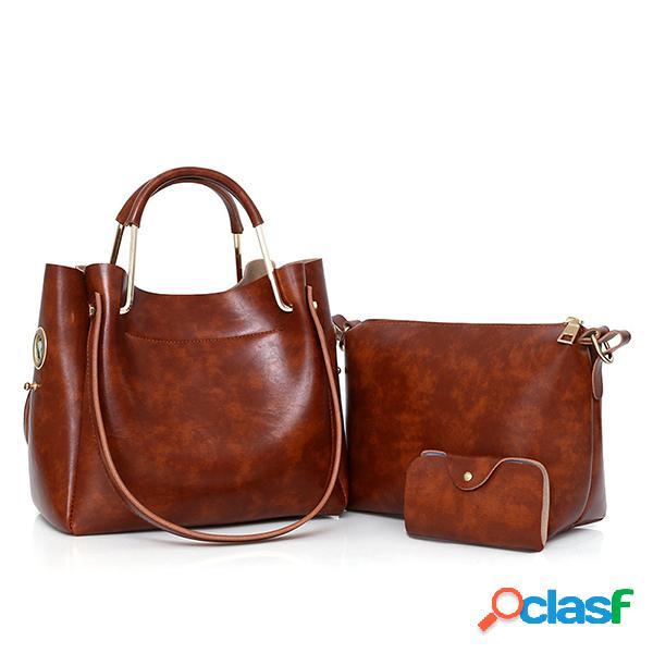 3 pcs mujer hombro retro bolsa bolsos tote bolsa