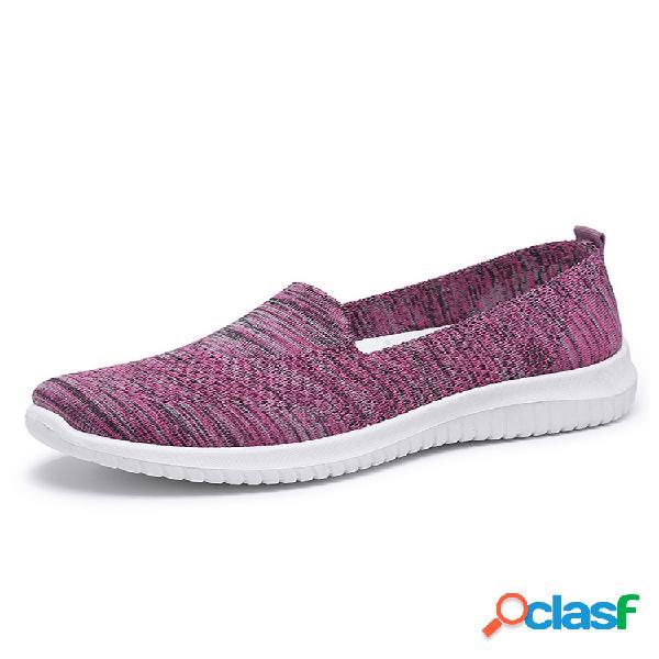 Mujer malla cómoda sin cordones patrón zapatos deportivos para caminar