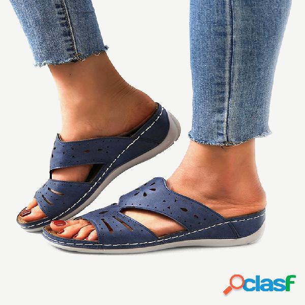 Tamaño grande mujer soft cómoda punta abierta hueca sandalias