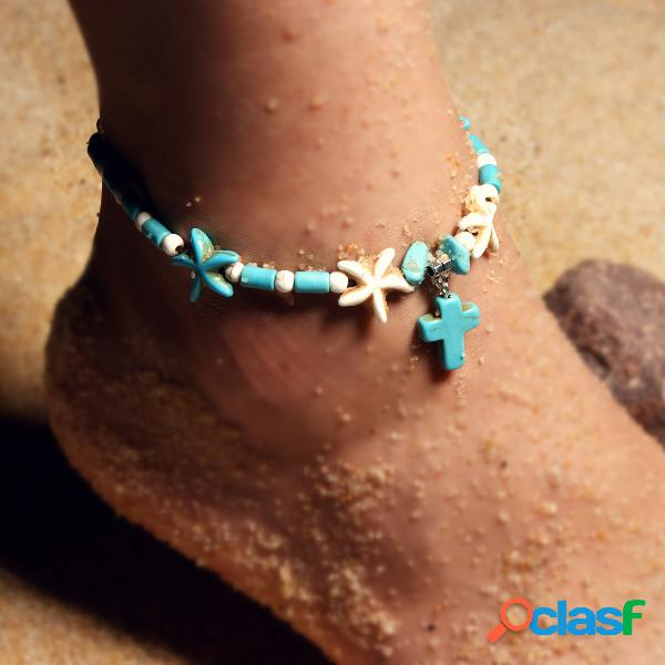 Vendimia estrella de mar tobillera turquesa cruz colgante mujer tobillera estilo étnico tobillera