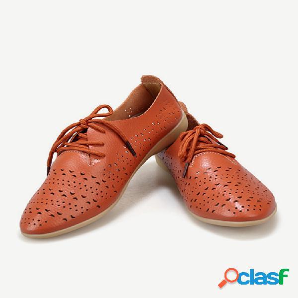 Zapatos planos de cuero para mujer zapatos casuales ahuecados mujer soft mocasines con cordones