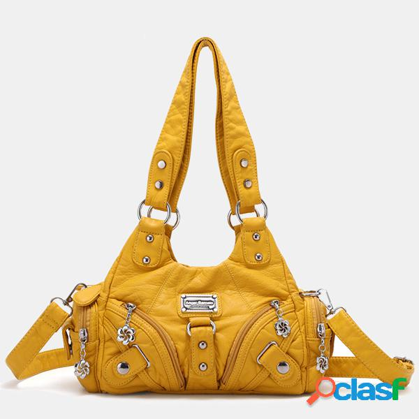 Mujer hombro con múltiples bolsillos de cuero soft de hardware bolsa