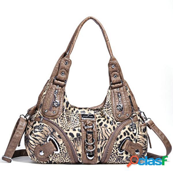 Mujer soft bolso de piel leopard patrón crossbody bolsa