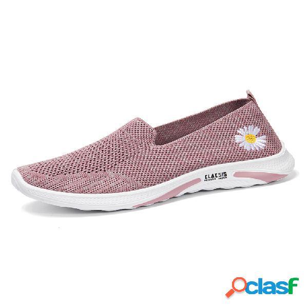 Mujer soft zapatillas cómodas de malla transpirable sin cordones con flores