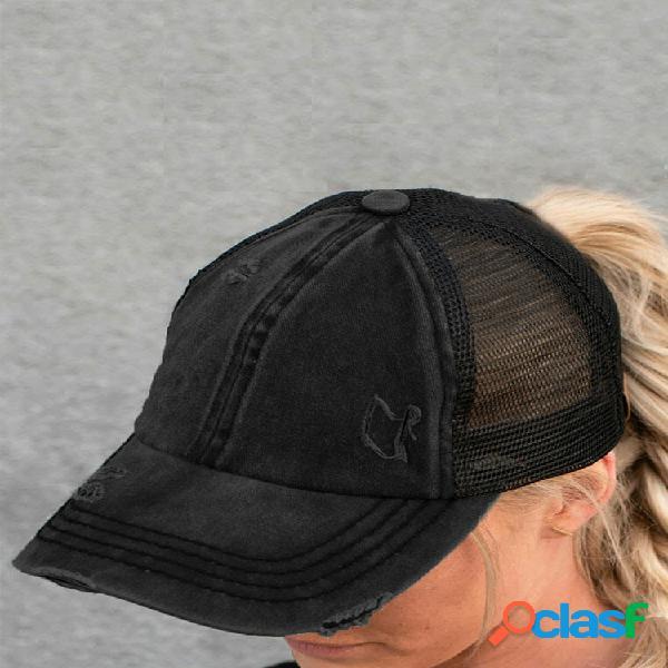 Mujer algodón color sólido malla transpirable entrecruzado hallow out baseball sombrero