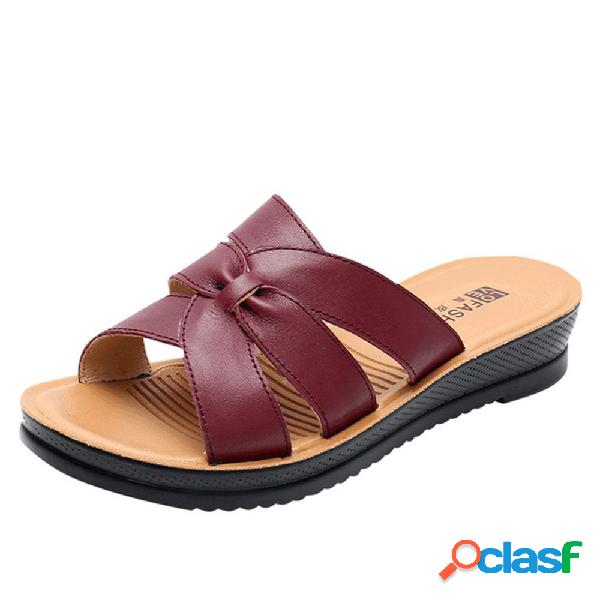 Mujer piel cómoda soft punta abierta plana zapatillas