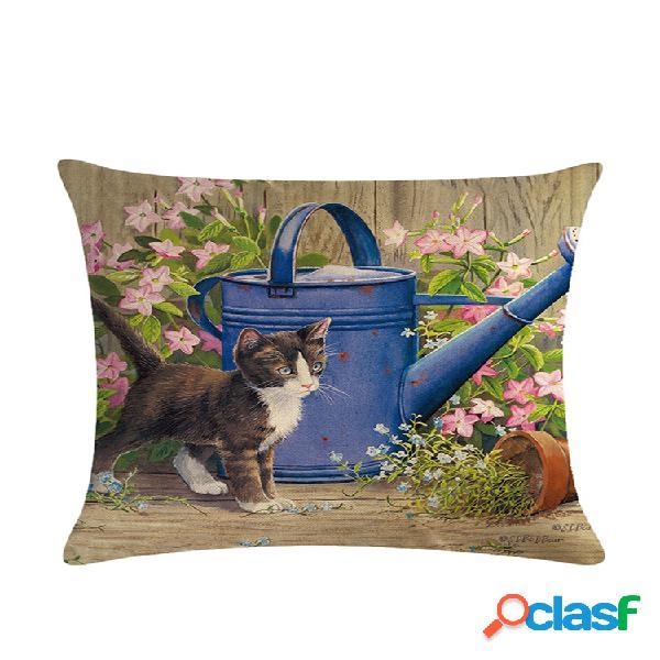 Dibujos animados gato patrón algodón lino throw pillow cojín funda asiento coche hogar sofá cama funda de almohada decorativa