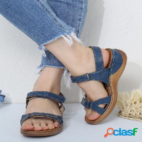 Costura para mujer soft ajustable para vacaciones gancho bucle playa sandalias