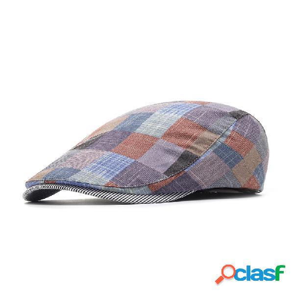 Gorra de boina de algodón con celosía de verano para mujer, ajustable, cómoda, salvaje al aire libre, gorra de vendedor de periódicos