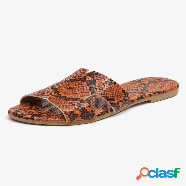 Mujer zapatos planos sin cordones elegantes informales con estampado de piel de serpiente zapatillas