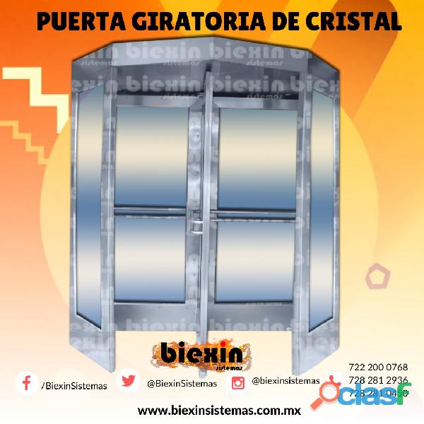 Puerta giratoria de 4 paneles de cristal