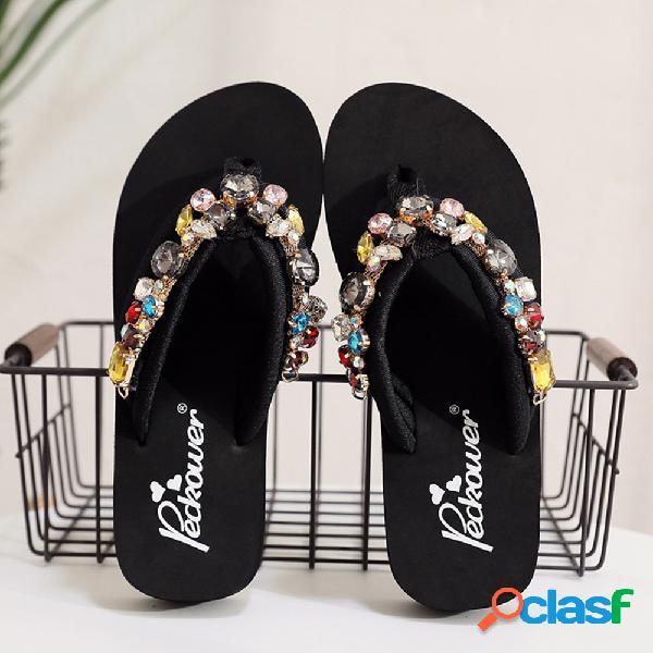 Mujer diamantes de imitación decoración antideslizante clip toe diapositivas zapatillas