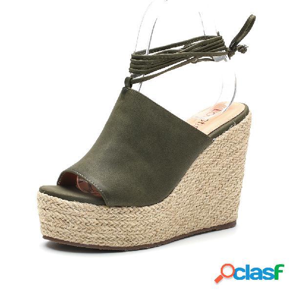Lostisy peep toe de color sólido con cordones alpargatas casuales cuñas sandalias