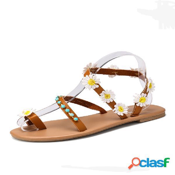 Mujeres flores decoración clip toe ring flats sandalias
