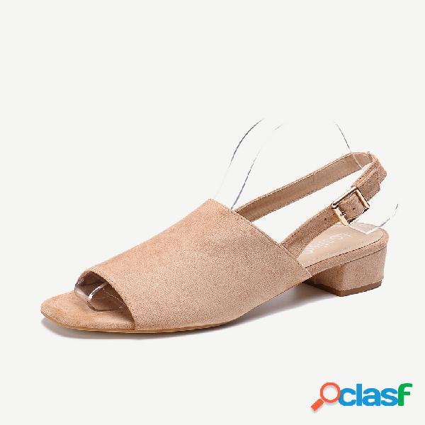 Lostisy peep toe slingback de ante de color sólido casual sandalias
