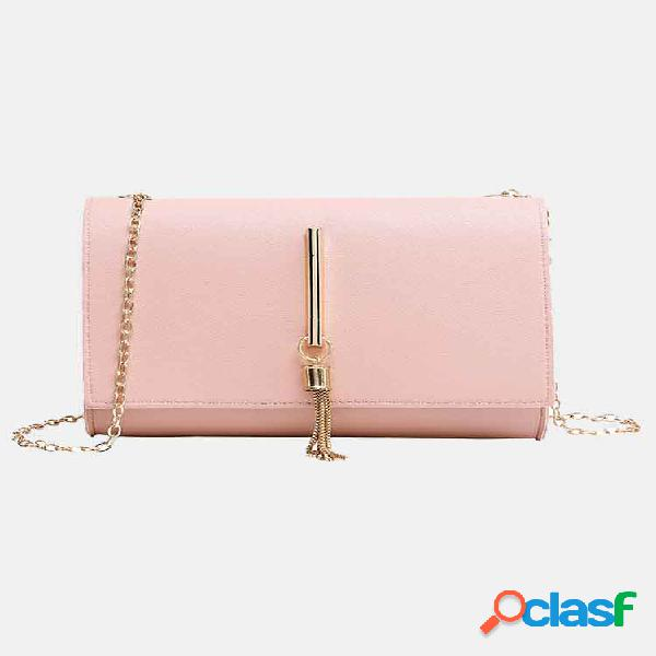Mujer tassel decor flap chain crossbody bolsa