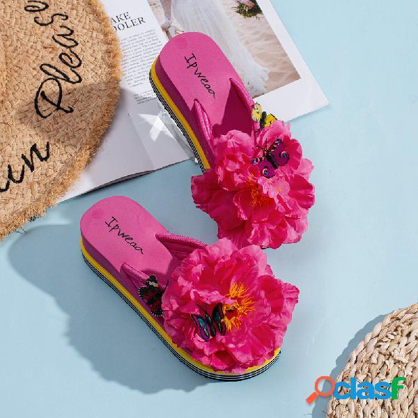 Mujer flores mariposa decoración clip toe playa plataforma zapatillas