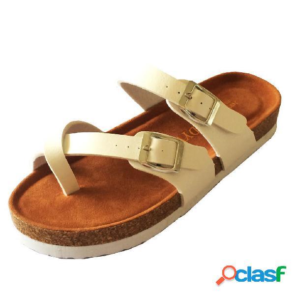 Mujer casual color sólido hebilla clip toe soft plano sandalias