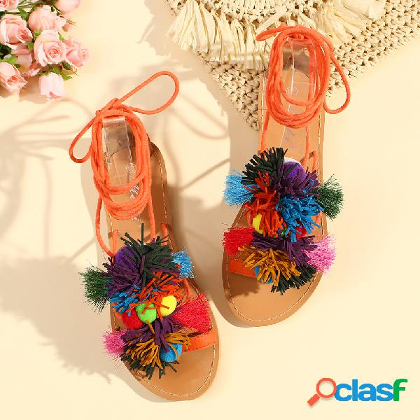 Mujer lace up bom bom decor flats sandalias