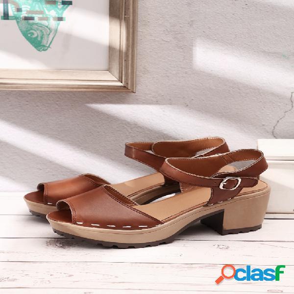 Mujer peep toe cómodo usable casual hebilla correa plataforma sandalias