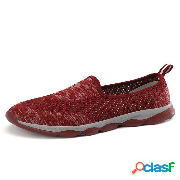 Mujer malla cómoda y transpirable soft suela antideslizante casual slip on sneakers
