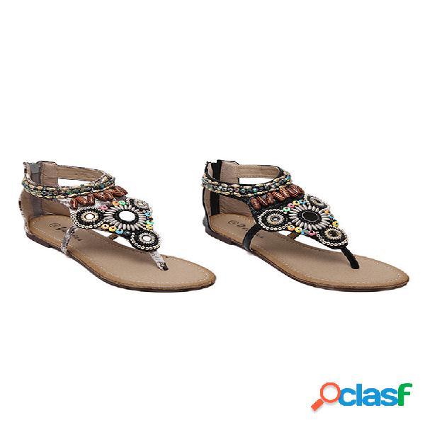 Mujeres rhinestone decoración clip toe cremalleras planos sandalias