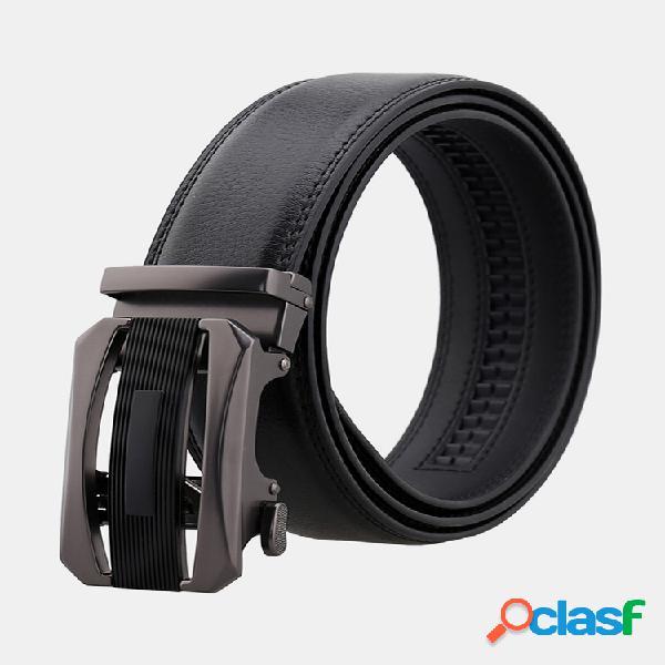 Hombres hebilla automática segunda capa piel de vaca cinturón cintura salvaje de negocios informal de alta calidad