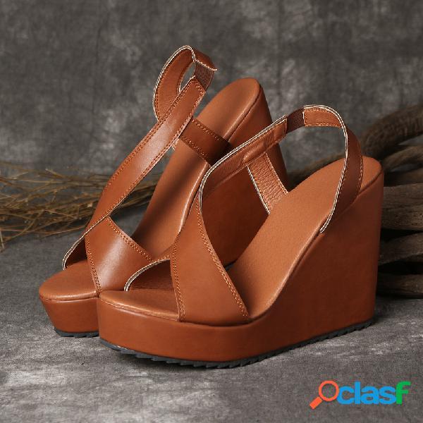 Gran tamaño mujer color sólido peep toe cuñas laterales abiertas sandalias