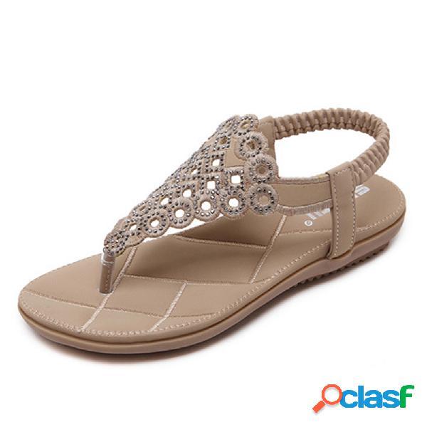Mujer bohemia playa rhinestone hollow clip toe flat sandalias