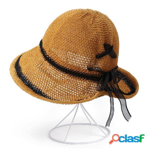 Mujer cubo de protección solar delgado transpirable plegable sombrero al aire libre viajes ocasionales playa mar sombrero
