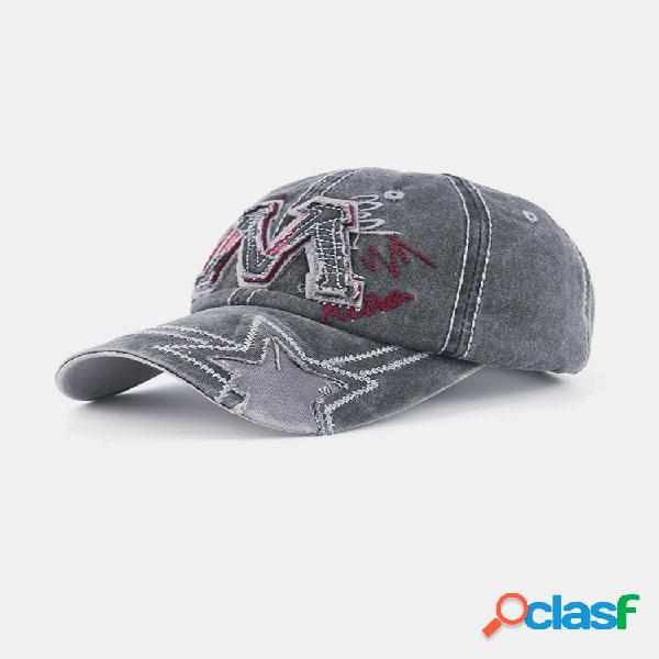 Gorra de béisbol lavada de lona de algodón con letras m para hombre personalidad al aire libre viajes deportivos sun sombrero