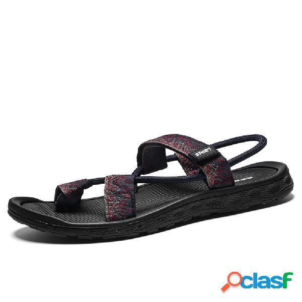 Hombre elegante tela roma gancho lazo ajustable correa de talón informal sandalias