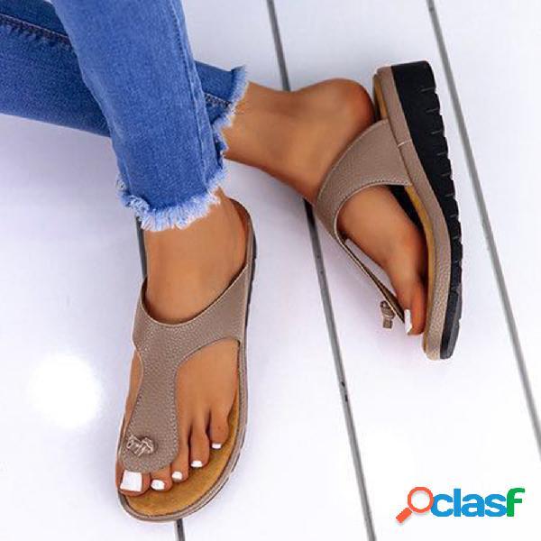 Tamaño grande mujer cuñas informales con clip de color sólido zapatillas