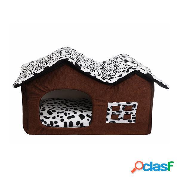 Mascota de lujo portátil perro gato casa de cama estera cálida ropa de cama cómoda para cachorros hogar soft