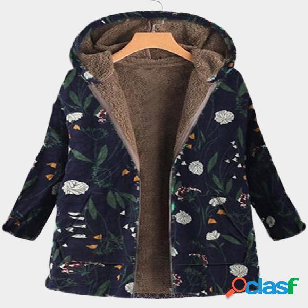 Abrigo de diseño con capucha azul marino estampado floral mangas largas mullido forro